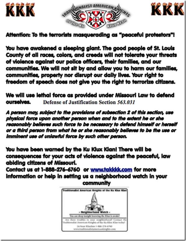 KKK Lethal Threat Letter